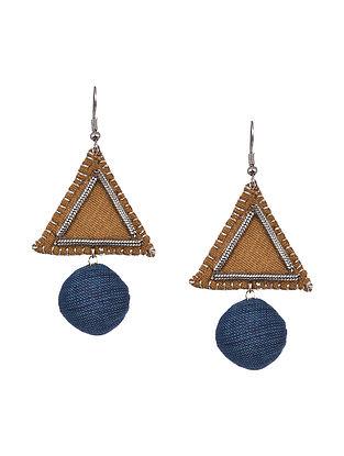 Mustard Blue Handcrafted Fabric Earrings