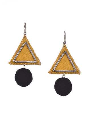 Yellow Black Handcrafted Fabric Earrings