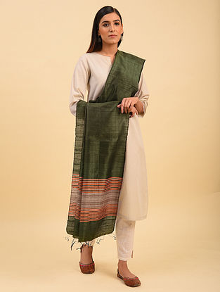 Green Handwoven Tussar Silk Dupatta