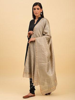 Beige Handwoven Tussar Silk Dupatta With Zari
