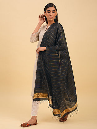 Black Handwoven Tussar Silk Dupatta With Zari