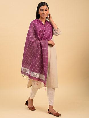 Pink Handwoven Tussar Silk Dupatta With Zari