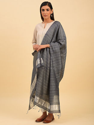 Grey Handwoven Tussar Silk Dupatta With Zari