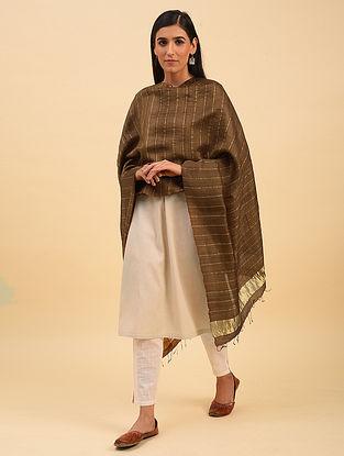 Brown Handwoven Tussar Silk Dupatta With Zari