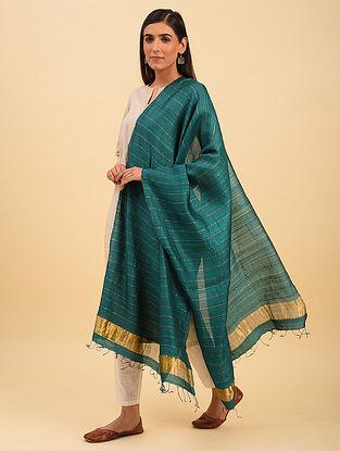 Blue Handwoven Tussar Silk Dupatta With Zari