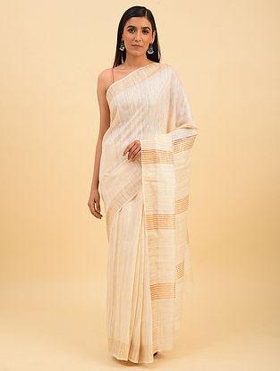 White Handwoven Tussar Silk Saree With Zari