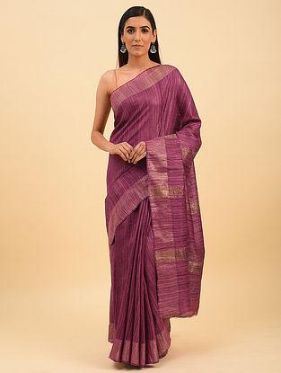 Pink Handwoven Tussar Silk Saree With Zari