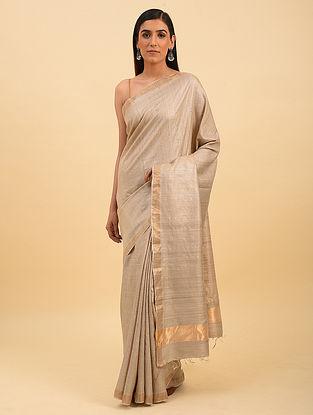 Beige Handwoven Tussar Silk Saree With Zari