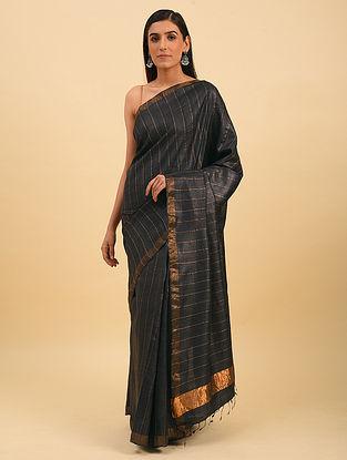 Black Handwoven Tussar Silk Saree With Zari