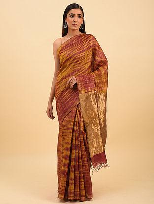Yellow Handwoven Shibori Dyed Tussar Silk Saree