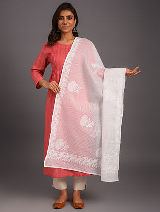 White Embroidered Kota Doriya Cotton Dupatta