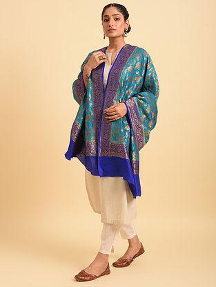 Blue Handloom Benarasi Muga Silk Dupatta