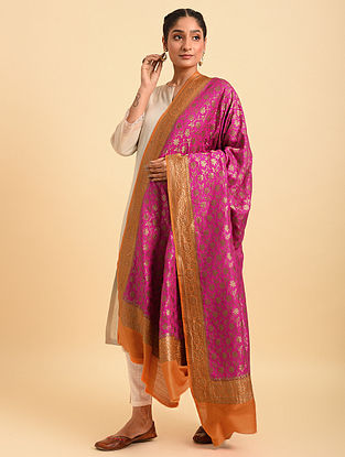 Pink Handloom Benarasi Muga Silk Dupatta