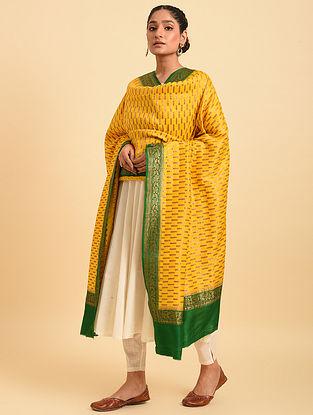 Yellow Handloom Benarasi Muga Silk Dupatta