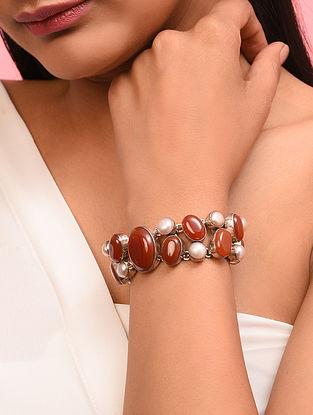 Red Jasper Sterling Silver Bracelet With Pearls