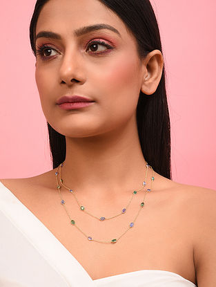 Gold Plated Emerald Tanzanite Silver Necklace
