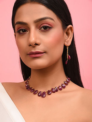 Faceted Cabochon Ruby Silver Necklace with Earrings