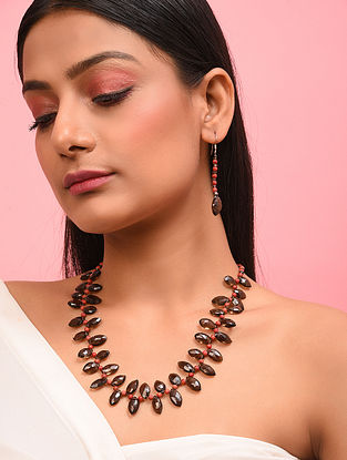 Faceted Smoky Topaz and Coral Silver Necklace with Earrings