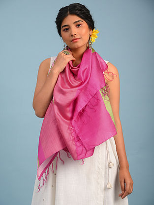 Pink Handwoven  Eri And Mulberry Silk Stole