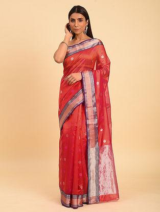 Red Handwoven  Chanderi Saree