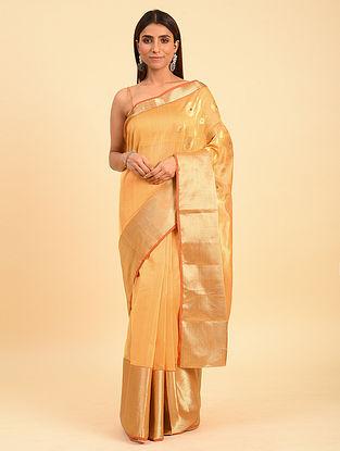 Orange Handwoven  Chanderi  Saree