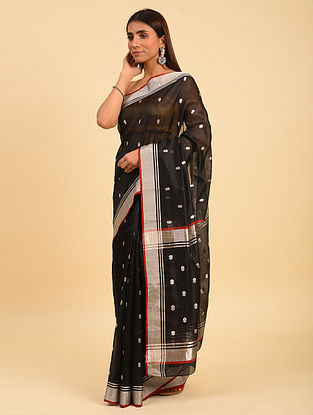 Black Handwoven  Chanderi  Silk Saree