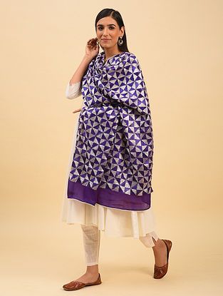 Purple Phulkari Embroidered  Chinnon Dupatta