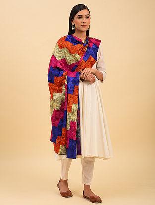 Multicolour Phulkari Embroidered  Chinnon Dupatta