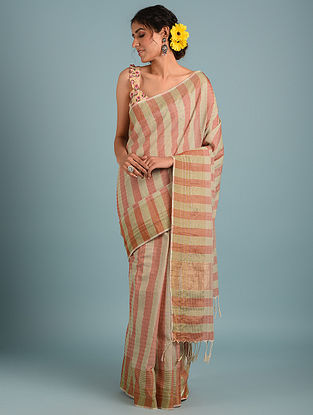 Orange Handwoven Pure Cotton Saree