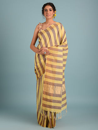 Brown Handwoven Pure Cotton Saree