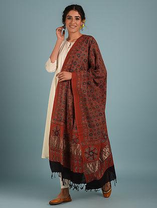 Red Handblock Ajrakh Natural Dye Pure Cotton Dupatta