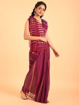 Maroon Handwoven Cotton Saree With Zari