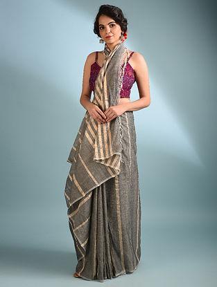 Grey Handwoven Cotton Saree With Zari