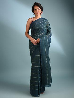 Blue  Handwoven Cotton Saree With Zari
