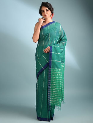 Green Handwoven Cotton Saree With Zari