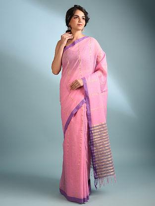 Pink Handwoven Cotton Saree With Zari