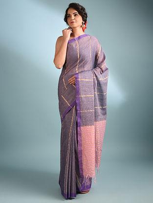 Purple Handwoven Cotton Saree With Zari