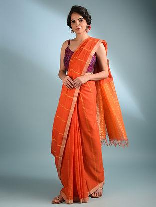 Orange Handwoven Cotton Saree With Zari