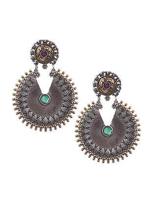 Green Dual Tone Tribal Earrings