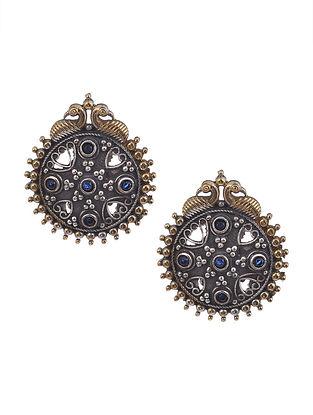 Blue Dual Tone Tribal Earrings