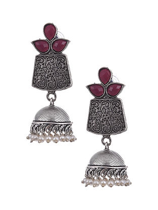 Red Silver Tone Tribal Jhumki Earrings with pearls
