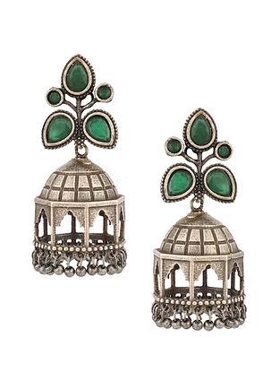Green Silver Tone Tribal Jhumki Earrings