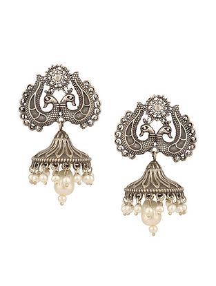 Silver Tone Tribal Jhumki Earrings With Pearls