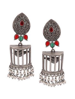 Red Green Silver Tone Tribal Jhumki Earrings
