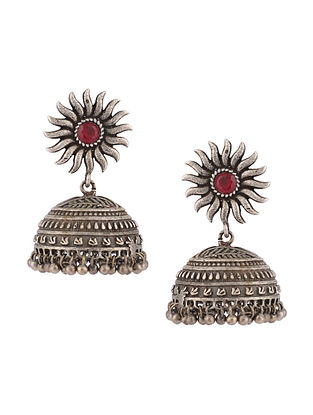 Red Silver Tone Tribal Jhumki Earrings