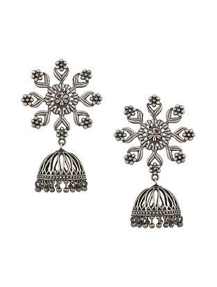 Silver Tone Tribal Jhumki Earrings