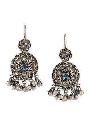 Blue Silver Tone Tribal Earrings