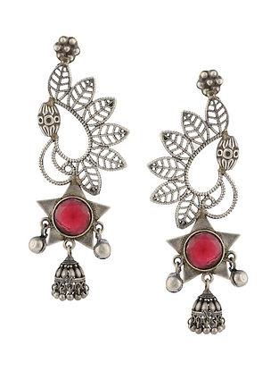 Red Silver Tone Tribal Earrings