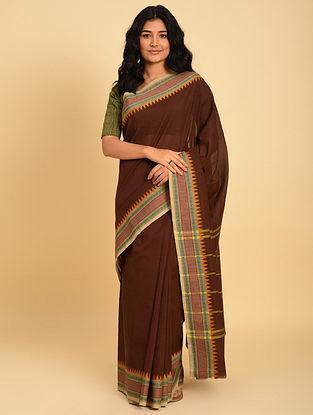 Brown Handwoven  Cotton Saree