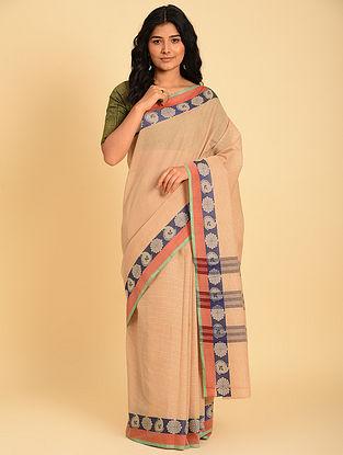 Beige Handwoven  Cotton Saree